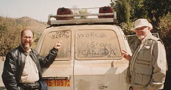 WV Canada President, Don Scott and I declare our origins on the back of a Land Cruiser.